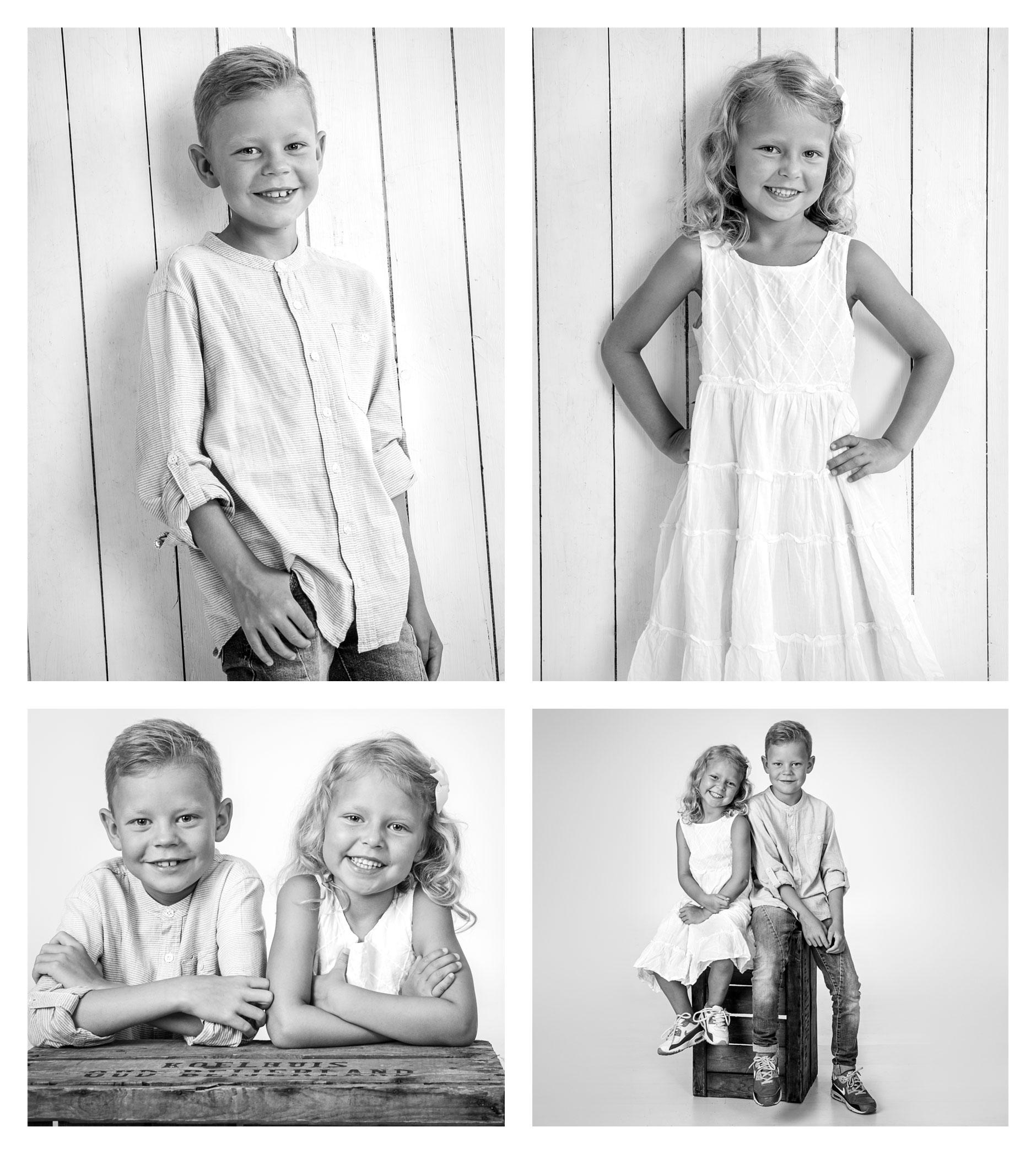 4 bilder på 2 syskon fotograferade i studio Fotograf 2Fotografer