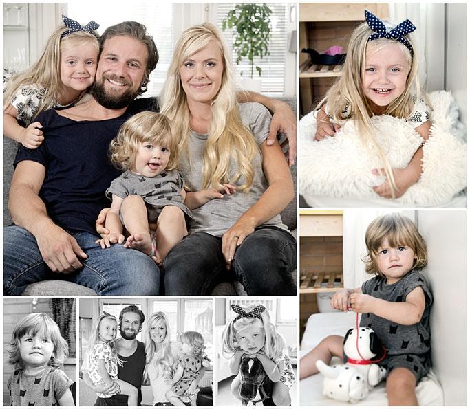 Flera bilder på en familj fotograferad i deras hem i Norrköping Fotograf 2 Footografer