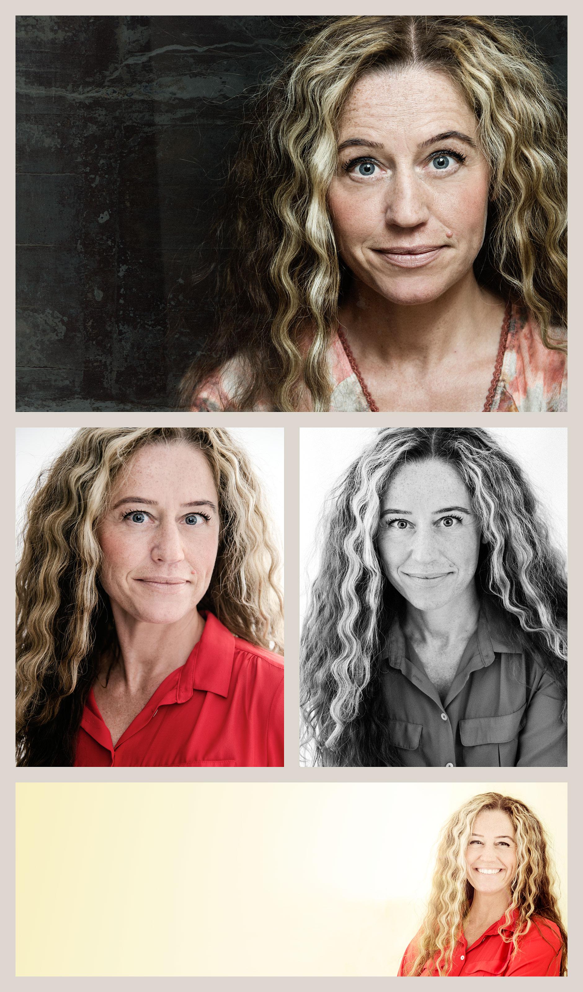4 bilder på en kvinna i färg och svartvitt