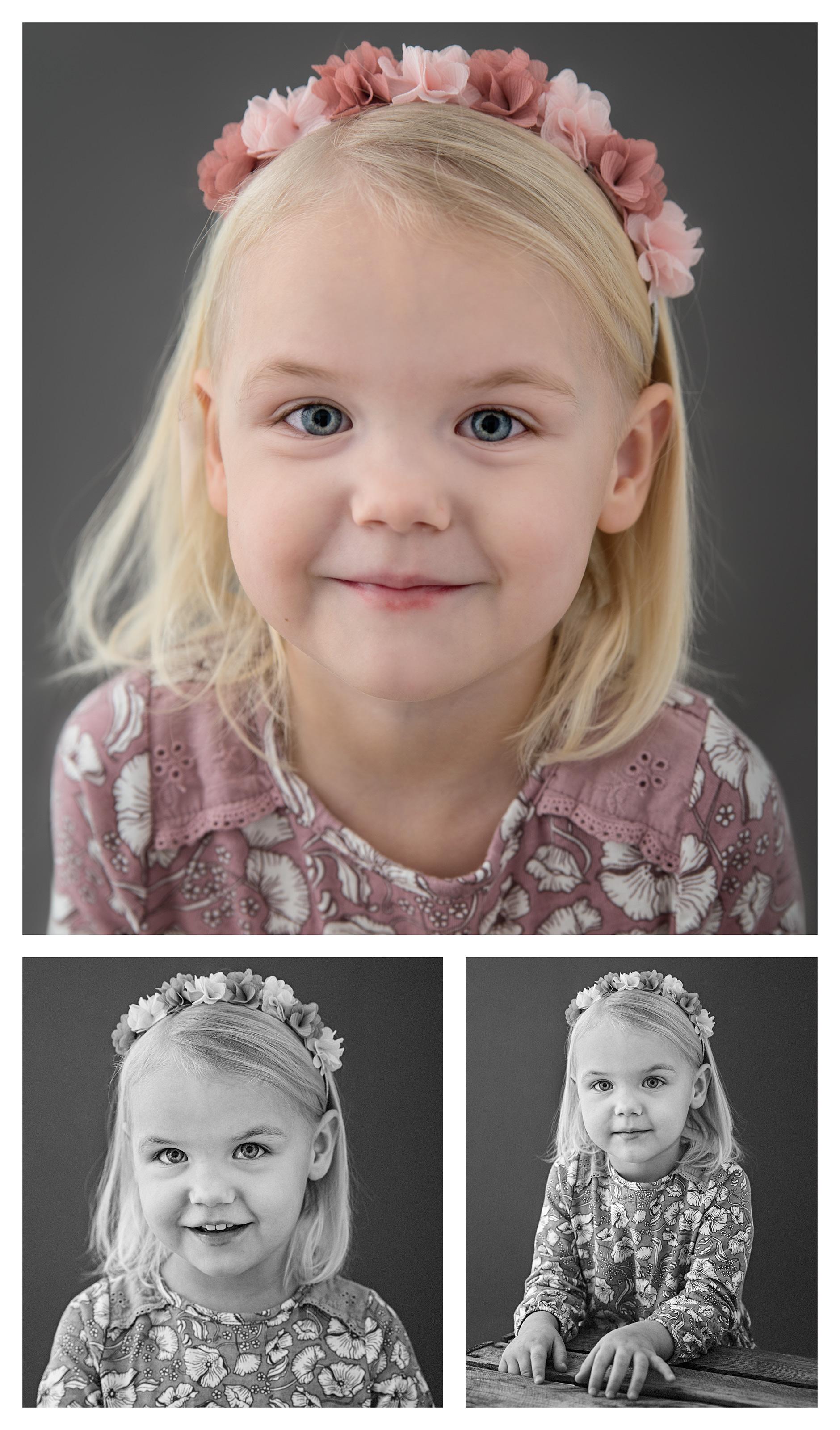 3 bilder på flicka ca 4 år