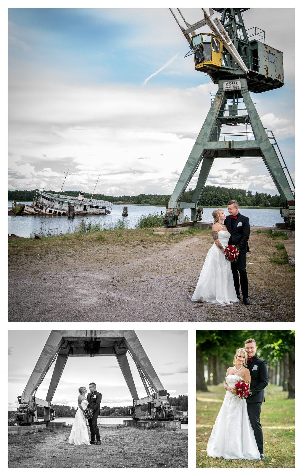 Brudpar ute vid hamnen Norrköping